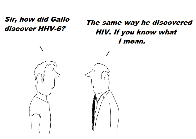 cartoon, gallo, cdc,nih, hhv-6, cover-up, fraud, hiv