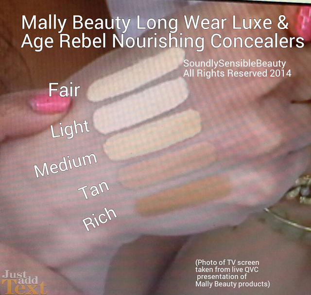 Mally Longwear Luxe/Age Rebel Nourishing Concealer Shades Swatched; Fair, Light, Medium, Tan, Rich