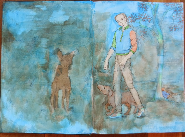 drawing of a man and a dog walking