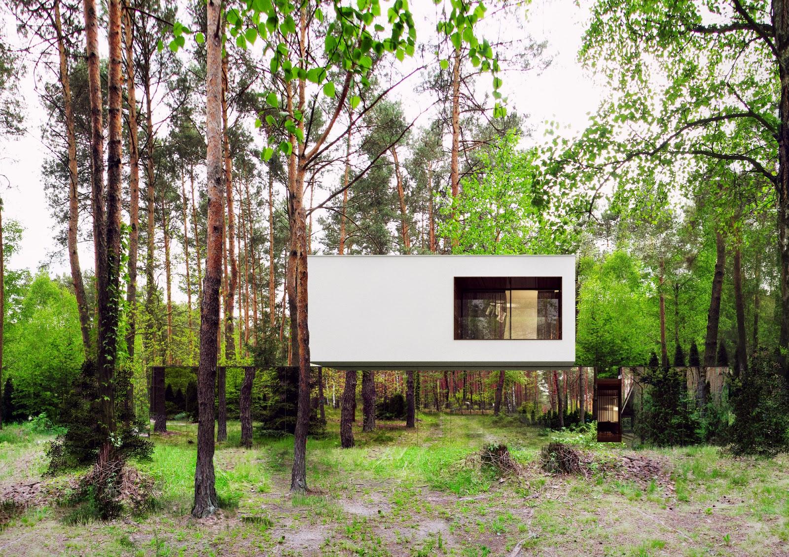konsep-desain-modern-rumah-cermin-izabelin-house-melayang-di tengah-hutan-001