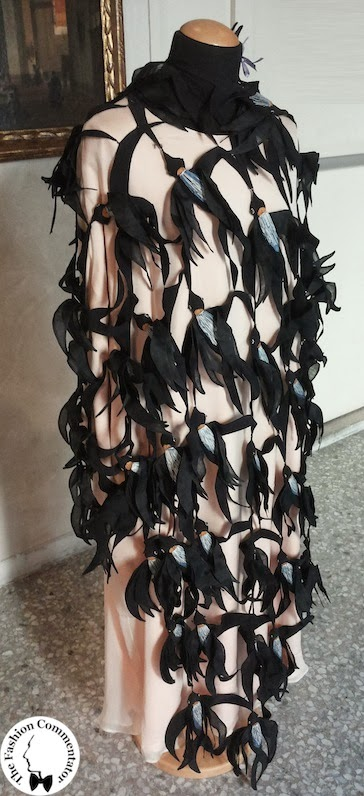 Valentina Cortese - Mostra Milano - Maurizio Galante dress with embroidered silk swallows (detail)