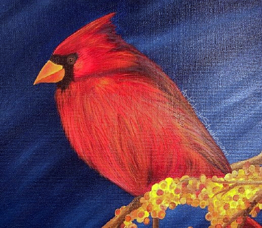 Christmas Cardinal Oil Painting