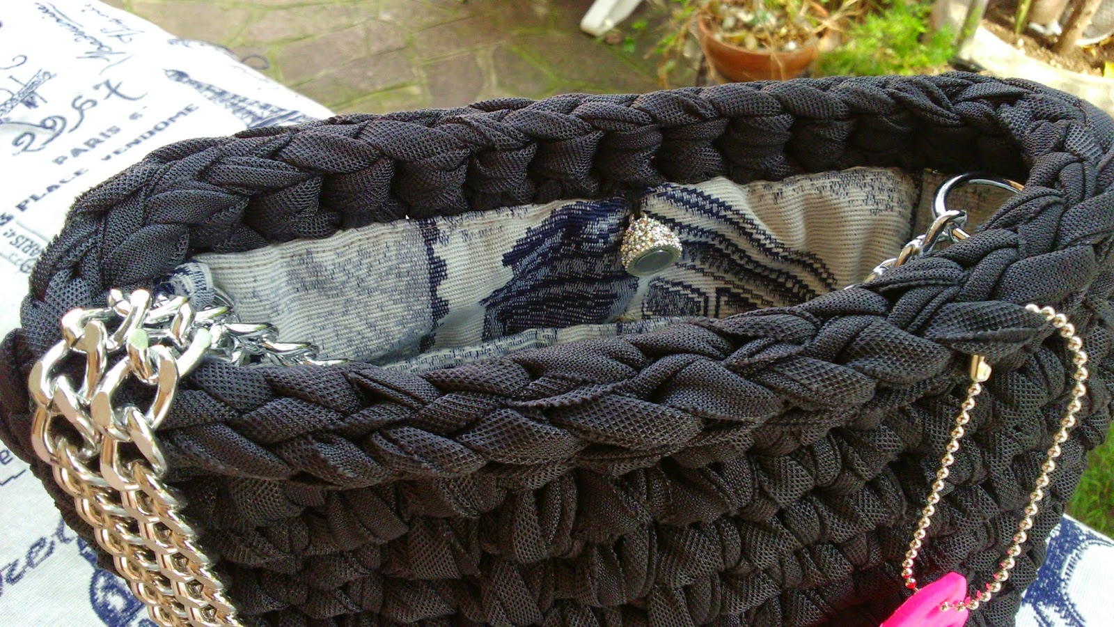 Borsa cotone lucido grigio antracite