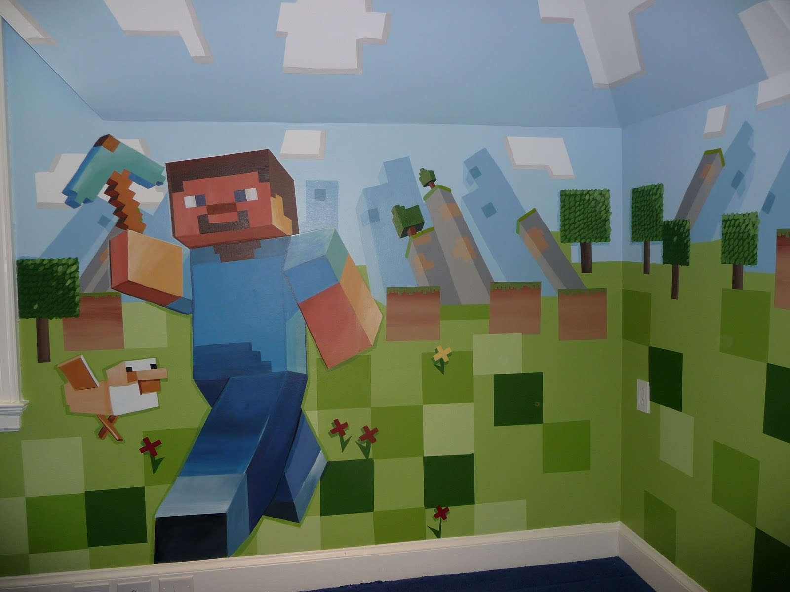 Wall Decorations Minecraft : Meme hill studio minecraft mural madness