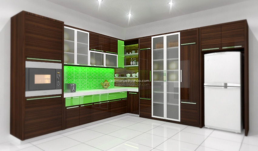 Desain kitchen set 39 l 39 rumah garis for Kitchen set hijau