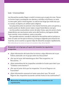 Apoyo Primaria Español 2do grado Bloque 3 lección 8 Dos mapaches, no tlacuaches...