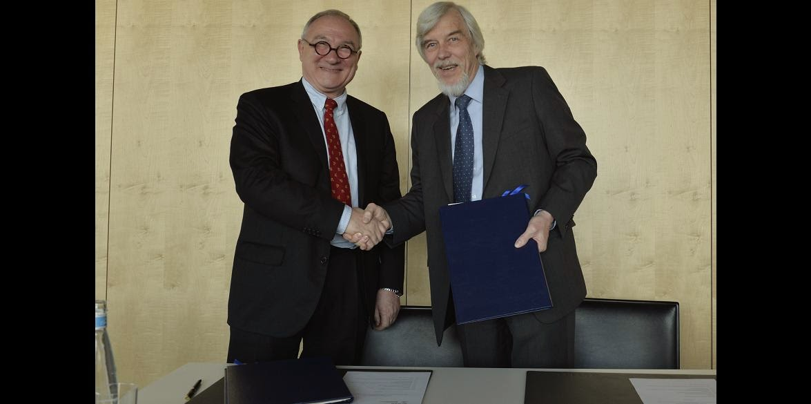ESA, the European Space Agency, and CERN, the European Organisation for Nuclear Research, signed a cooperation agreement on 28 March to foster future collaborations on research themes of common interest. The image shows ESA Director General, Jean-Jacques Dordain, with CERN's Director General, Rolf Heuer. Credit: M. Brice – 2014 CERN