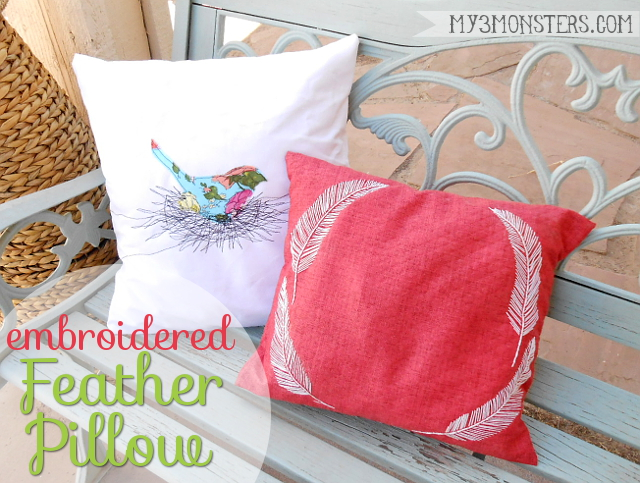 Embroidered Feather Pillows at my3monsters.com