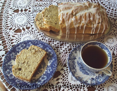 Eclectic Red Barn: Almond Pudding Loaf with blue transfer ware