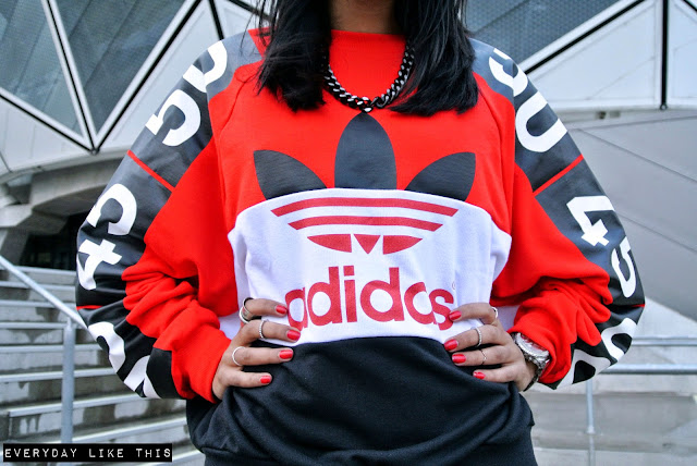 Topshop x Adidas originals jumper red fashion blog australia