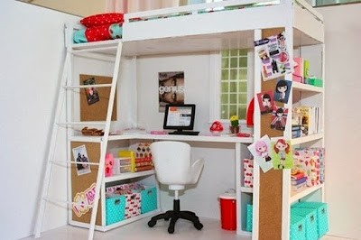 foto cama loft escritorio
