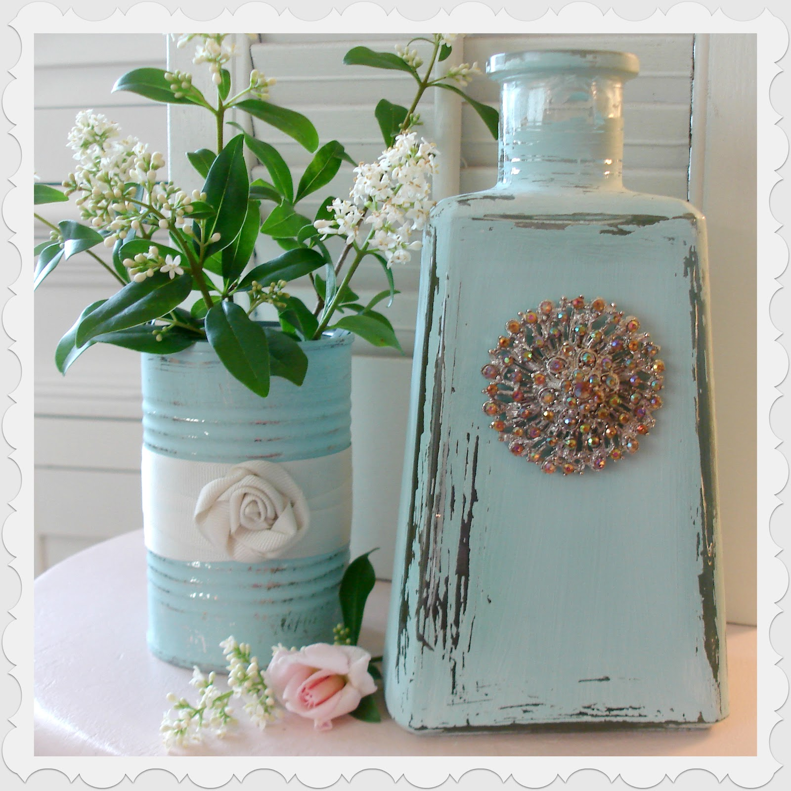 Glass bottle and tin can repurpose for Glass home decor