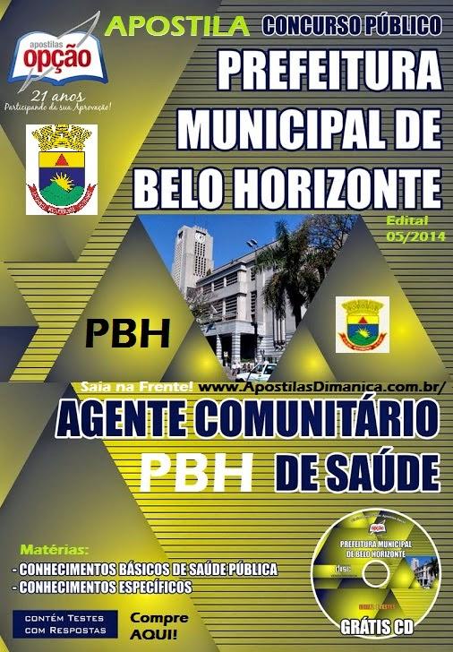 Apostila Seleção Pública Prefeitura de Belo Horizonte / MG, para Agente Comunitário de Saúde - PHB - 2015
