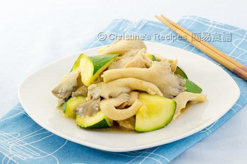 翠玉瓜秀珍菇炒雞片02