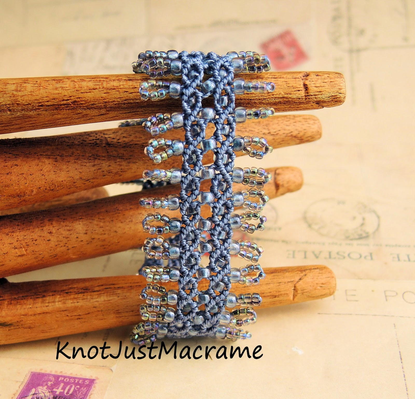 Original micro macrame bracelet designed by Sherri Stokey of Knot Just Macrame