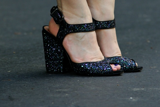 Blue sparkle shoes from Schutz