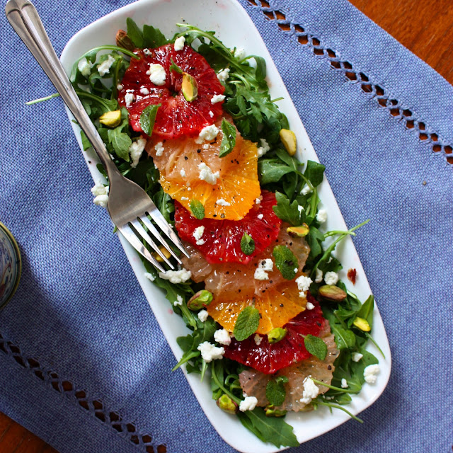 Winter Citrus Salad with Goat Cheese, Pistachios and Mint ...