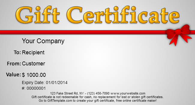 gift certificates templates for free
