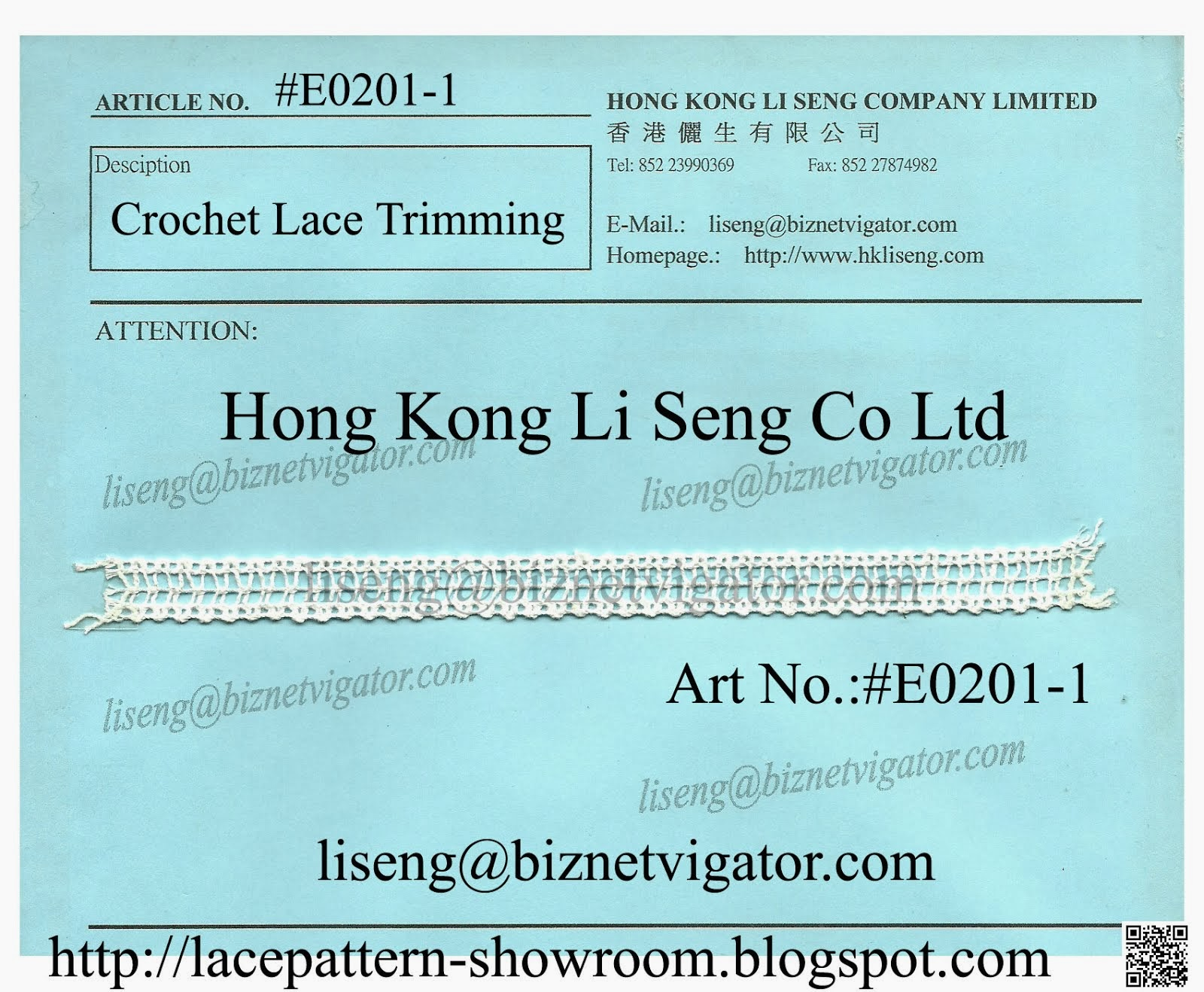 Lace Pattern Free - Crochet Lace Manufacturer - Hong Kong Li Seng Co Ltd