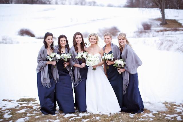 winter wedding white and navy