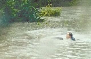 GO Train Flood Passenger Swimming