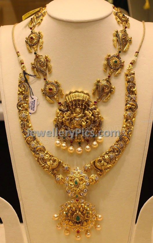 Antique ram leela necklace with paachi work