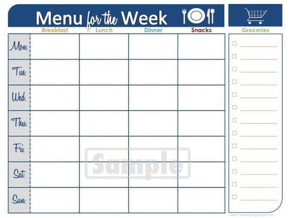 ... and Organized. Monica, so graciously sent me a Weekly Meal Planner
