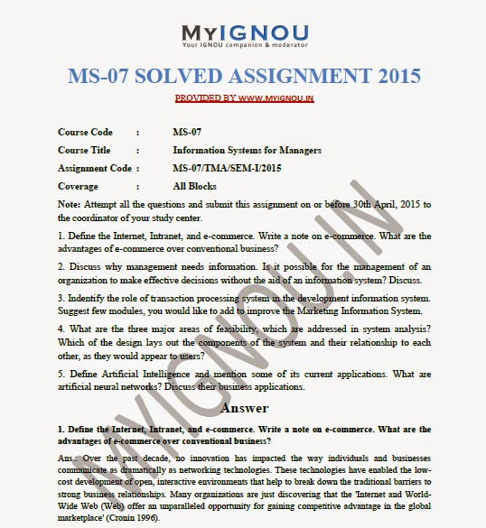 Download MS-07 Solved Assignment 2015