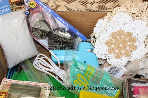 Eclectic Red Barn: Dollar box contents -glue gun and doilies