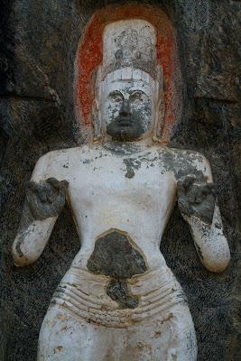 A Rock Carving of Avalokitesvara Bodhisattva photographed in Buduruwagala Sri Lanka