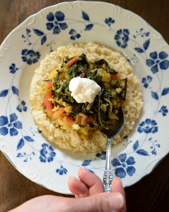 ... plates: Curried Red Lentil and Swiss Chard Stew with Garbanzo Beans
