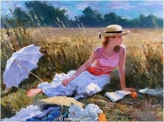 Mujer en Paisaje con Sombrilla y Sombrero