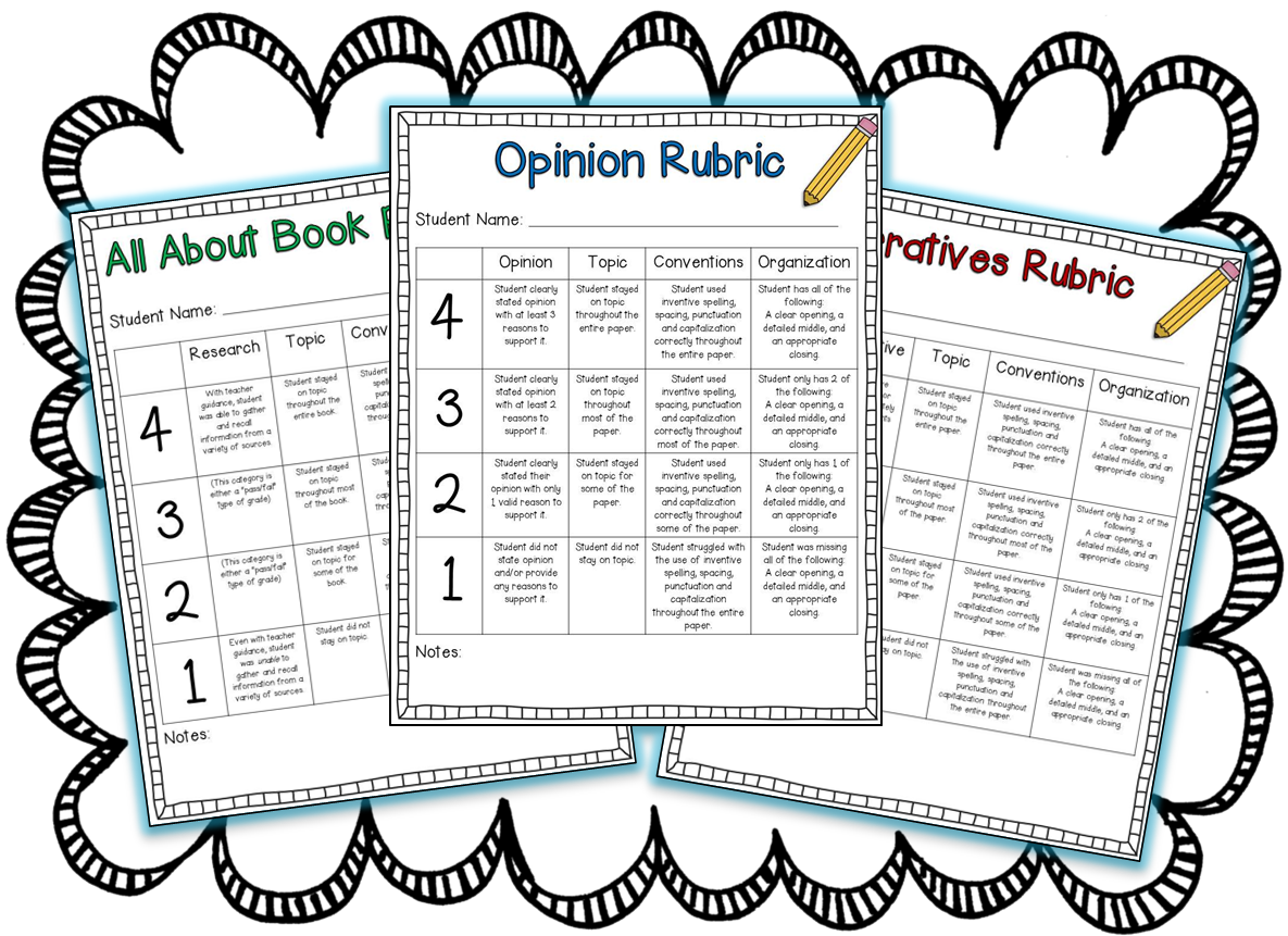 writing rubrics for first grade