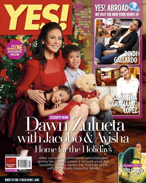 Dawn Zulueta, Kids Jacobo and Ayisha Cover YES! Magazine December 2012 Issue
