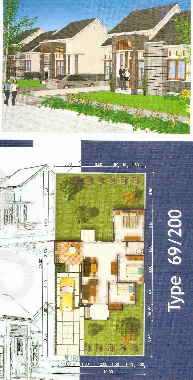 rumahku 1 denah desain rumah minimalis type 69