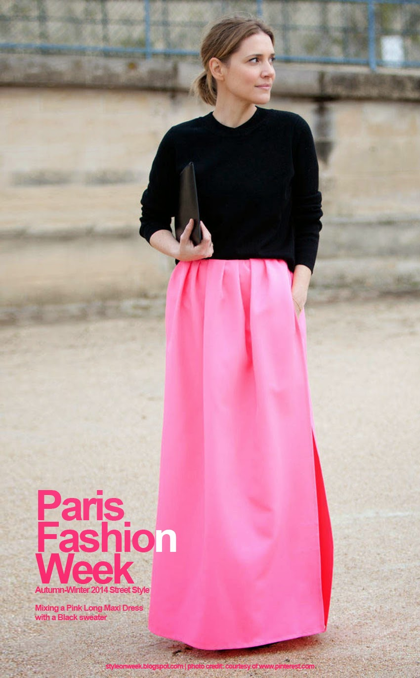 Paris Fashion Week Autumn-Winter 2014 Street Style - Mixing a Pink Long Maxi Dress with a Black Sweater