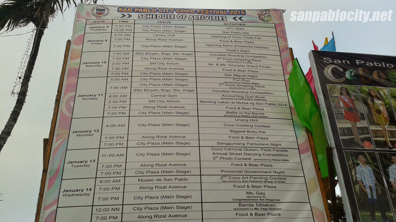 San Pablo City Coco Festival 2015 Schedule Of Activities