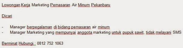Marketing Pemasaran Air Minum Pekanbaru