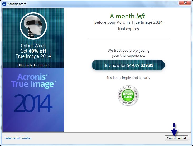 trial serial number acronis 2014