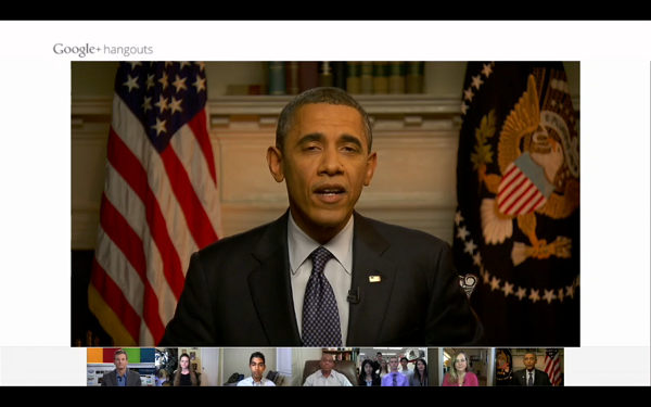Obama using Google Hangouts