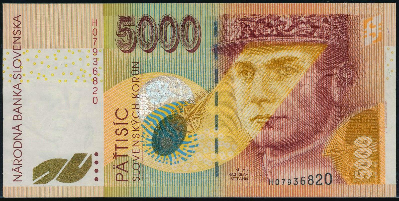 Slovakia Banknotes 5000 Korun banknote 1999 General Milan Rastislav Štefánik