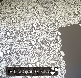 Painted paisley stenciled floor