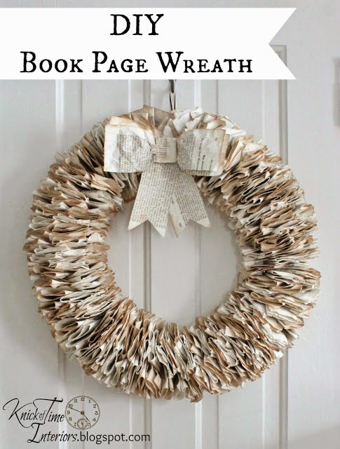 Repurposed Book Page Wreath via Knick of Time