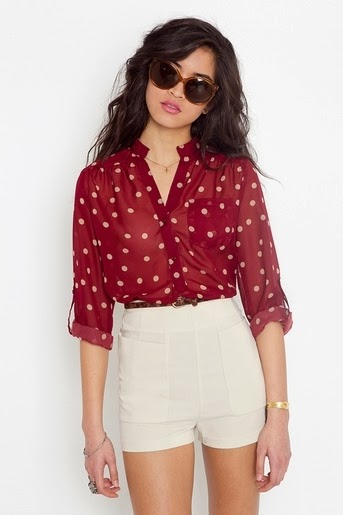 Darcy Dot Wine Blouse With Shorts