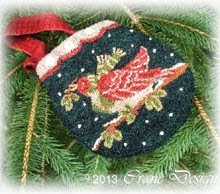 "Winter Flight Punchneedle Bag 4.5"" by 5"""