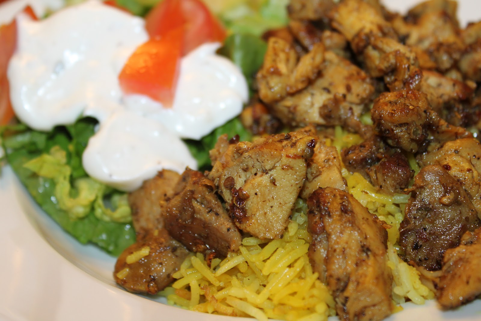 Halal Cart-Style Chicken And Rice With White Sauce Recipe — Dishmaps