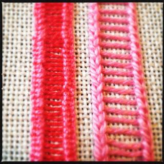 Broderisting tutorial. Vejledning med billeder. Ladder stitch med variation af buttonhole stitch