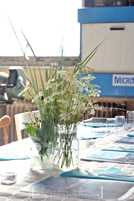tables arrangements, flowers for summer party, flowers for street party, flowers jam jar, queen anne's lace, table arrangements queen anne's lace reed sea kale