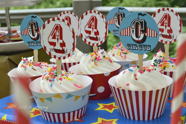 Run Away With The Circus party table Snickerplum cupcake toppers