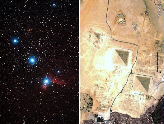 Las pirámides de Giza y las tres estrellas de la constelación de Orión